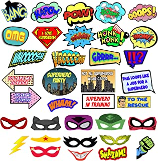 Superhero Photo Booth Props – Comic Superhero Party Decorations Set for Selfie & Photo Booth Pics – 35 Colorful Super Hero Props and Masks – Superhero Party Supplies Set by Scapa Pro