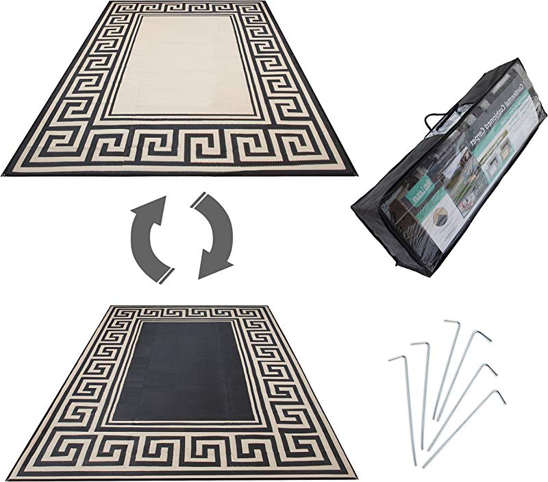 Mats Leisure Model RN99187 Rv Patio Mat Awning Mat Outdoor Leisure Mat New Grecian Complete Kit Khaki 9x18