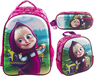 3d Masha School Backpack For Kids Girl 18 Inch Pink Include Lunch Bag And Pencil Pouch