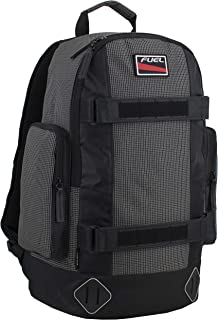 Fuel Pro Skater Backpack With Adjustable Dual Straps And Interchangeable Velcro Patch Panel, Black and White Ripstop Print