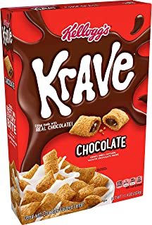 Kellogg's Krave, Breakfast Cereal, Chocolate, Filling Made with Real Chocolate, 11.4oz Box