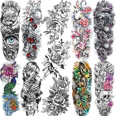 11 Sheets NEZAR Large Vine Peony Flower Rose Full Arm Temporary Tattoos For Women Realistic Skull Skeleton Fake Temporary Tattoo Sleeves Stickers Waterproof Leg Makeup Floral Blossom Tatoos Paper Eye