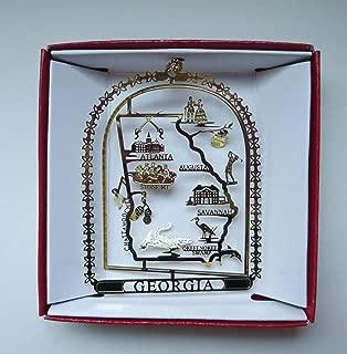 Georgia Brass Christmas ORNAMENT Souvenir Gift Atlanta Augusta Savannah Peaches Peanuts