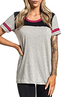 Savannah Short Sleeve Sport Graphic Fashion Scoop Neck Panel T-Shirt Top by Affliction