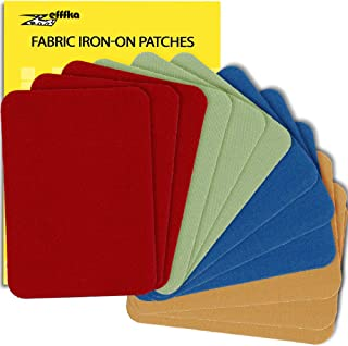 """ZEFFFKA Premium Quality Fabric Iron On Patches Blue Red Yellow Brown Green 12 Pieces 100% Cotton Repair Kit 3"""" by 4-1/4"""""""