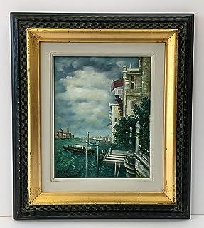 Dipinto a olio su tavola con cornice,soggetto Laguna di Venezia,cm35,5x40,5