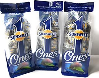 Sunsweet Ones Individually Wrapped California Pitted Prunes - 3 Packages (Each Package Is 6 Ounces)