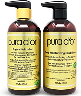 PURA D'OR Anti-Thinning Shampoo w/Biotin, Coal-Tar & 0.9% KETO-CONAZOLE + Deep Moisturizing Conditioner Set: Reduce Hair Thinning and Healthy Scalp - All Hair Types, Men & Women (Packaging May Vary)