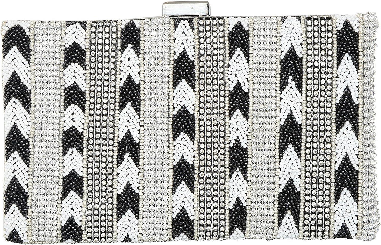 Anas Embroidery Evening Clutch Fashion Purse, Women's Clutch (Black & Grey)