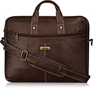 LOREM Tan Color Briefcase Laptop Bag Cross Body Office Business Professional Bag for Men & Women BG16 (Dark Brown)