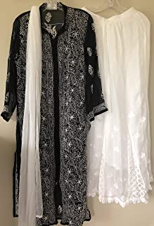 Lucknow Chikankari Suit/Kurti,Dupatta and Palazzo set/Size large 42- to fit bust size 38 inches