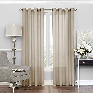 """ECLIPSE Sheer Bedroom-Liberty 52"""" x 95"""" Light Filtering Grommet Top Single Window Panel Curtain Living Room, Ecru"""