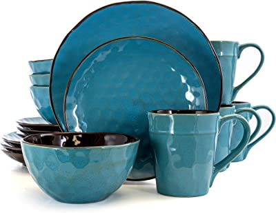 Elama Contemporary Round Stoneware Dinnerware Dish Set, 16 Piece, Ocean Blue