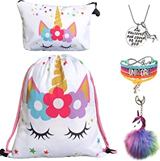 Unicorn Gifts for Girls - Unicorn Drawstring Backpack/Makeup Bag/Bracelet/Inspirational Necklace/Hair Ties (White Star with Keychain)
