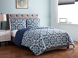 Morgan Home Printed 3 Piece Reversible Quilt Set with Shams – All Season Comfort, Available in, Colors & Sizes (Medallion Blue, Full/Queen)