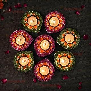 TIED RIBBONS Diwali Diya Set of 8 Handmade Terracotta Clay Diyas for Pooja Room Puja Oil Diya Lamp for Home Décor Mandir T...