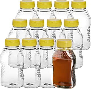 Pack of 12 – Empty Bottles for Honey– Clear Plastic Honey Jars - Plastic Honey Container Refill – 16 Oz Squeeze Honey Bottle with Leak Proof Flip-Top Caps for Easy Dispensing - BPA Free Food Safe