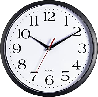 Bernhard Products Black Wall Clock, Silent Non Ticking - 12 Inch Quality Quartz Battery Operated Round Easy to Read Home/Office/School Clock Sweep Movement