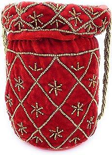 ADORA FASHION INDIAN HANDMADE POTLI/POUCH/CLUTCH ROUND SHAPE BAG FOR WOMEN ADORA ACI 107 RED