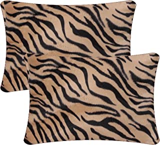 Queenie® - 2 Pcs Faux Fur Throw Pillow Covers Cushion Cover for Sofa Pillow Case Available in 5 Colors and 6 Different Sizes (14 x 20 inch (35 x 50 cm), Bengal Tiger)