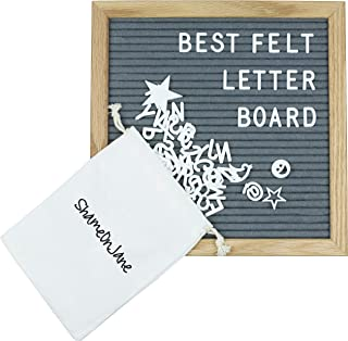 ShameOnJane Grey Changeable 10 x10 Felt Letter Board - Oak Wood Frame - Comes with Pre Cut Letters and Symbols for a Great Message Board, Letter Sign for Announcements, Menus and Home Decoration