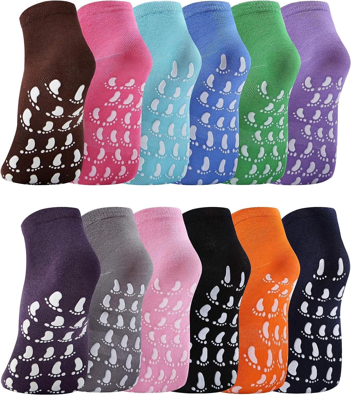 12 Pairs Slipper Socks for Women Non Slip Skid Gripper Socks Trampoline Socks for Adults Women Hospital Socks Yoga Socks