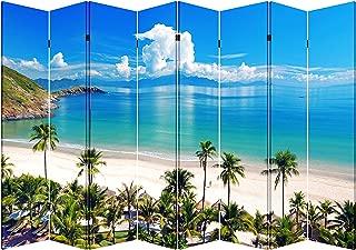 Toa 4, 6, or 8 Panel Folding Screen Canvas Room Divider- Beach Huts (8 Panels)