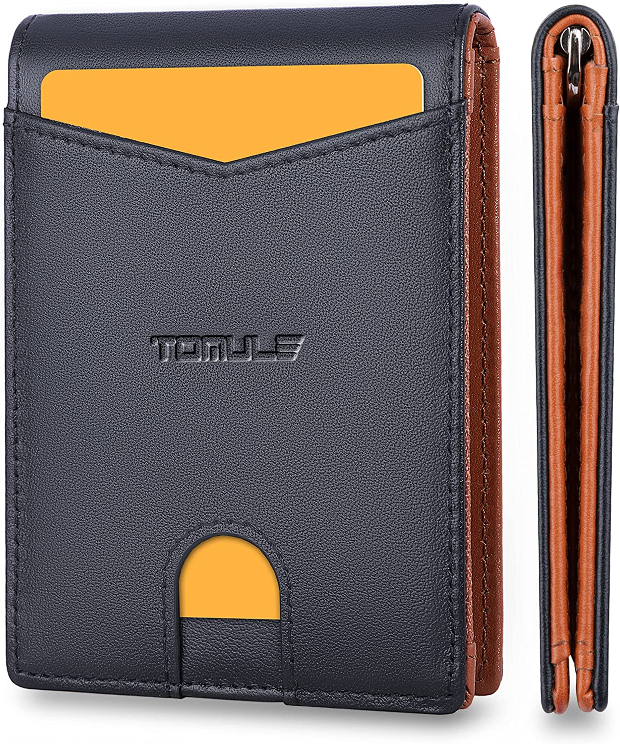 TOMULE Mens Leather Wallets Slim Minimalist Wallet Bifold Front Pocket Wallet with Money Clip Wallet RFID Blocking Card Wallet for Men Thin Small Wallet with Coin Pocket ID Window (Black&Orange)