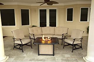 Hanover 4-Piece Traditions Outdoor Cast Top Fire Pit Lounge Set, Natural Oat/Antique Bronze