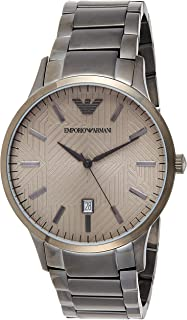 Emporio Armani Men's Dress Quartz Watch with Stainless-Steel Strap, Grey, 21 (Model: AR11120)