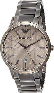 Emporio Armani Men's Dress Quartz Watch with Stainless-Steel Strap, Grey, 21 (Model: AR11120)
