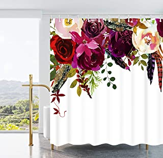 Ao blare Floral Shower Curtain, Colorful Vintage Exotic Summer Flowers Botanical Polyester Fabric Shower Curtain with Hooks 72X72 Inches