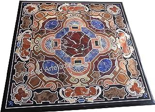 Gifts And Artefacts Mesa de café de mármol para oficina, mesa de reuniones, mosaico con piedras preciosas incrustadas, tra...