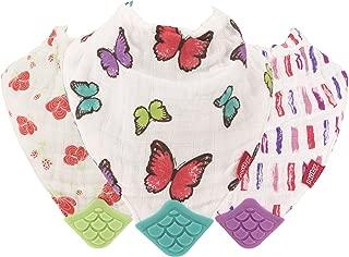 Nuby Reversible 100% Natural Cotton Muslin 3 Piece Teething Bib, Pink/Aqua/Purple, Flower/Butterfly/Stripes