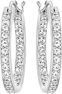 Swarovski 1172374 Women's Summerset Rhodium-Plated Hoop Clear Crystal Pierced Earrings, 3/4