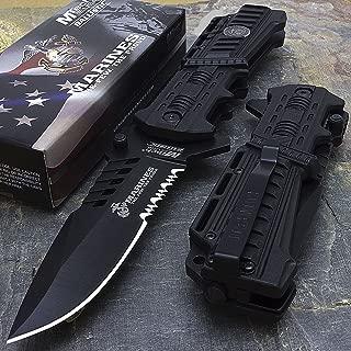 Mtech USA USMC Marines Black Spring Assisted Opening Tactical Rescue Folding Pocket Knife