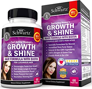 Biotin Hair Growth Supplement with Folic Acid - Fast Acting Hair Growth Support for Women - Promotes Intensive Repair - Gluten Free, Non GMO, Vegetarian - 60 Capsules