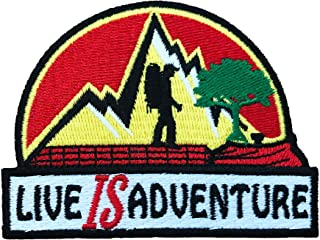 Vinpatch Live is Adventure Embroidered Sew On/Iron on Patch - Personalized Travel Patches Designed for Shirts Jackets Jeans and Backpacks - Patch Size 2.5'' x 3.3''