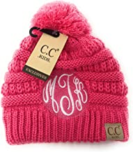 Monogrammed Kids Solid Pom CC Beanies - Many Colors Pink