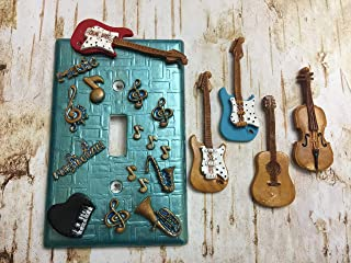Handmade Light Switch Plate or Outlet Cover Sculpture Metallic Music Room Guitar Violin Cello Notes Decor Polymer Clay Gift
