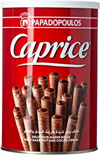 Caprice Wafer Rolls with Hazelnut and Cocoa Cream, 250g (Pack of 1)