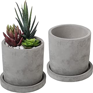 Set of 2 Modern 4-Inch Gray Unglazed Cement Succulent Planter Pots with Removable Saucer