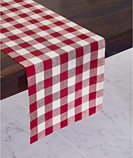 red and white checkered table runner