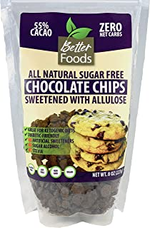 Sugar Free Chocolate Chips Sweetened With Allulose (Keto, Zero Net Carbs, Great for Diabetics, No Artificial Sweeteners, No Sugar Alcohol, No Stevia, Gluten Free, Soy Free, Vegan, Non-GMO) (1 Pack)