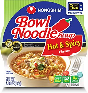 NongShim Bowl Noodle Soup, Hot & Spicy, 3.03 Ounce (Pack of 4)