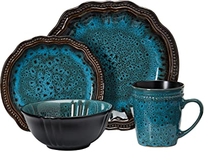 Elama Round Stoneware High Class Dinnerware Full Service Set, Ocean Blue