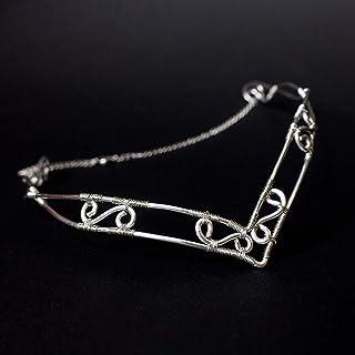 Beruthiel tiara elfica vichinga in acciaio inossidabile argento