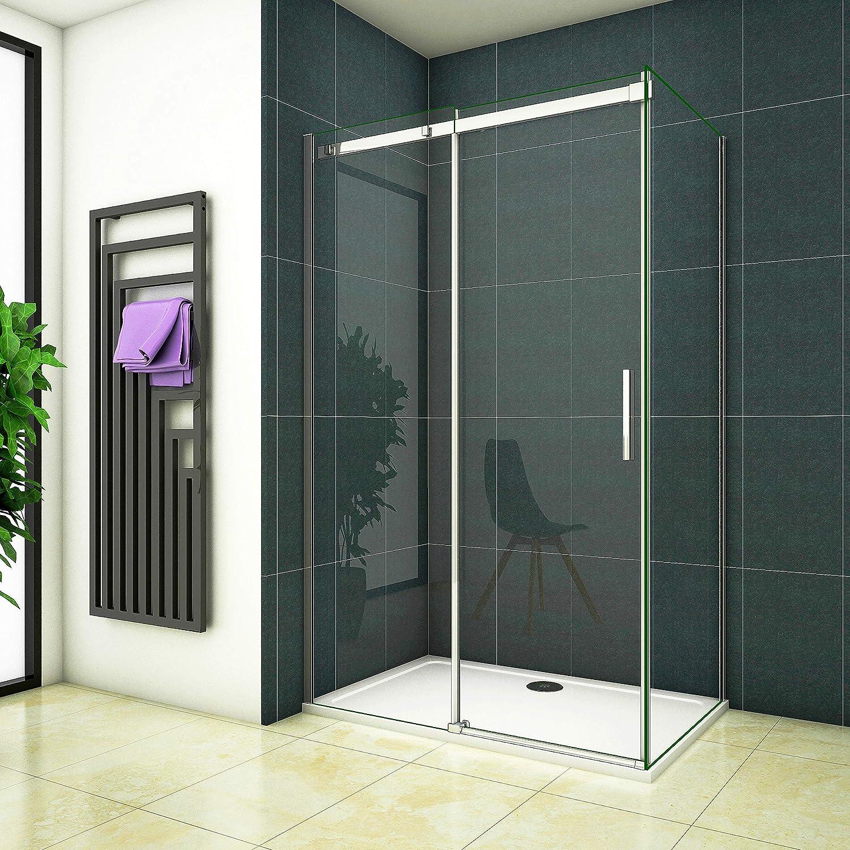 120x195 Dusche Duschabtrennung Duschkabine 8mm Easyclean ESG Klarglas ohne Duschtasse mit Seitewand 90cm