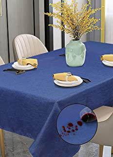 Violet Linen European Solid Faux Linen Pattern Polyester, Non-Stain, Spill-Proof and Water Resistance, Rectangle, Tableclo...