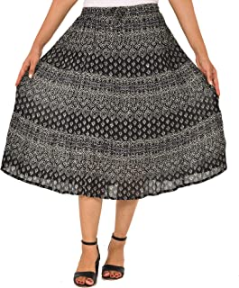 COTTON BREEZE Women's A-line Skirt (Multi-Coloured)